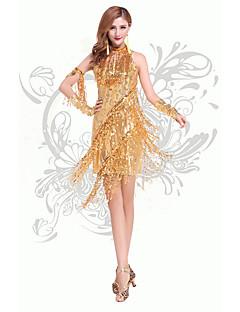 Danse latine Robes Femme Spectacle Chinlon Sans manche Taille haute
