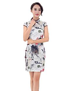 N/A 한 조각 짧은 소매 중간 길이 화이트 로리타 드레스 폴리에스터