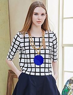 Damen Schachbrett Einfach Lässig/Alltäglich T-shirt,Rundhalsausschnitt Sommer ½ Länge Ärmel Weiß Baumwolle / Elasthan Undurchsichtig