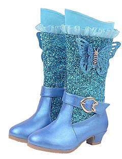 女の子 ブーツ ファッションブーツ グリッター マイクロファイバー 秋 冬 結婚式 カジュアル ドレスシューズ ファッションブーツ スパークリンググリッター ジッパー ローヒール ダークブルー ピンク ライトブルー フラット