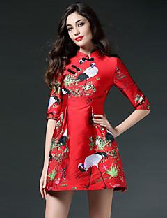 Jojo Hans kvinders gå ud kineserier kappe dressprint stå over knæet længde ærme rød polyester