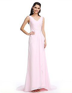 TS Couture® Formal Evening Sheath / Column V-neck Sweep / Brush Train Chiffon With Appliques/Criss Cross
