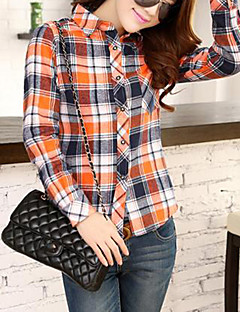 Women's Casual/Daily Simple Spring / Fall / Winter Shirt,Plaid Long Sleeve Blue / Red / Green / Orange Cotton Medium