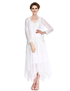 2017 Lanting Bride® A-line Mother of the Bride Dress Asymmetrical Long Sleeve Chiffon with Appliques / Beading