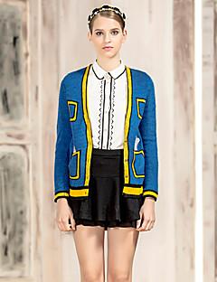 I'HAPPY Women's Going out Cute Regular CardiganPrint Blue / Pink V Neck Long Sleeve Acrylic Spring / Fall Medium