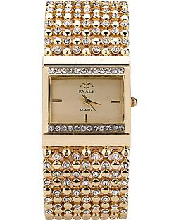 לנשים שעוני אופנה שעון יד שעון צמיד שעונים יום יומיים קווארץ אבן נוצצת חיקוי יהלום מתכת אל חלד להקהמדבקות עם נצנצים צמיד מגניב יום יומי