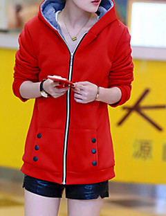 Women's Solid Fleece Coat with Velvet, Casual Long Sleeve Polyester / Cotton Blends