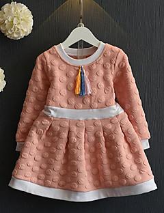 Mädchen Kleid-Lässig/Alltäglich Patchwork Kunstseide Frühling / Herbst Blau / Rosa