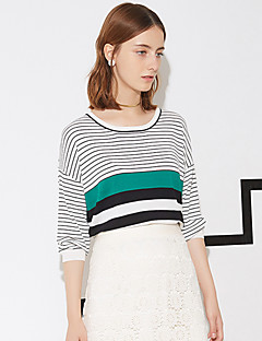 I'HAPPY Women's Casual/Daily Simple Regular PulloverStriped Red / Green Round Neck  Sleeve
