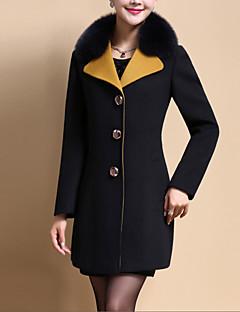 Casual/hétköznapi Egyszerű Őszi / Téli-Női Kabát,Egyszínű Állógallér Hosszú ujj Fekete / Sárga Poliészter Közepes vastagságú