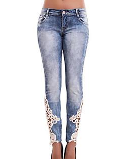 Mulheres Calças Simples / Moda de Rua Jeans Poliéster Micro-Elástica Mulheres