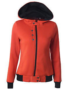 Women's Casual/Daily / Sports Simple / Active Zipper Regular HoodiesSolid Blue / Red / Green / Orange Hooded Long Sleeve