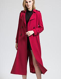 BORME® 여성 셔츠 카라 긴 소매 트렌치 코트 버건디-Y056