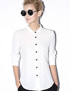 Új előtt a női munka egyszerű tavaszi / őszi shirtsolid állni hosszú ujjú kék / fehér pamut / len átlátszatlan