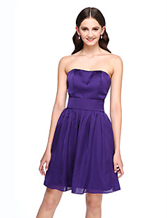 2017 Lanting Bride® Short / Mini Satin Chiffon Short Bridesmaid Dress - A-line Strapless with Sash / Ribbon