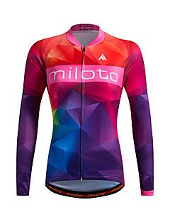 Esportivo Camisa para Ciclismo Mulheres Manga Comprida MotoRespirável / Mantenha Quente / Secagem Rápida / Zíper Frontal / Fecho YKK /