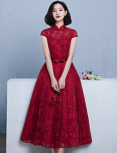 Tea-length Lace / Satin Elegant Bridesmaid Dress - Ball Gown High Neck with Bow(s) / Sash / Ribbon