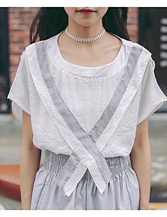 Damen Solide Niedlich Ausgehen T-shirt,Rundhalsausschnitt Sommer Kurzarm Weiß / Grün Baumwolle Mittel