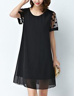 Damen Kleid-Übergrößen / Chiffon Einfach / Street Schick Punkt Übers Knie Baumwolle / Polyester Rundhalsausschnitt