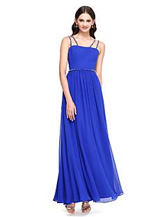 2017 Lanting bride® tornozelo de comprimento chiffon elegante vestido de dama de honra - uma linha de cintas de espaguete com beading