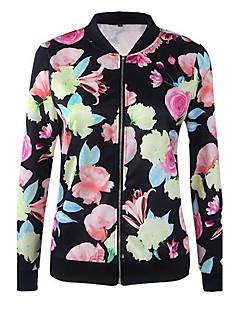 Langærmet Høj krave Medium Dame Sort Blomstret Forår Efterår Vintage Simpel I-byen-tøj Afslappet/Hverdag Jakke,Polyester