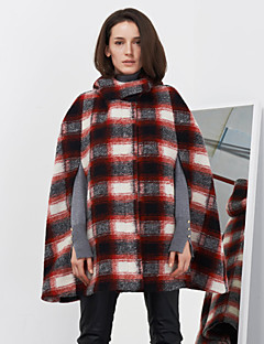 C+IMPRESS Women's Going out Street chic Cloak/CapesPlaid Hooded Sleeveless Winter Red Wool / Rayon Medium