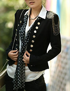 Women's Stylish Style Scoop Neck Double Breasted Long Sleeves Slimming Blazer