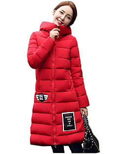 Women's Solid Red / Gray Padded CoatVintage Hooded Long Sleeve Plus Size