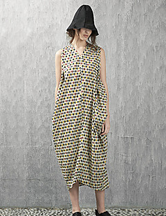 Rizhuo Maternity Casual/Daily Simple Loose DressPlaid V Neck Midi Sleeveless Yellow Cotton / Polyester Summer High Rise