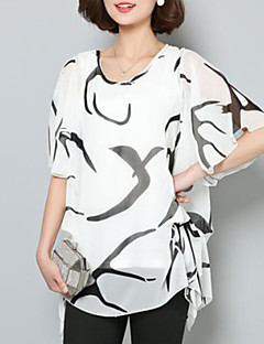 Blusa Da donna Casual Taglie forti / Moda città Estate,Con stampe Rotonda Poliestere Bianco / Nero Manica corta Medio spessore