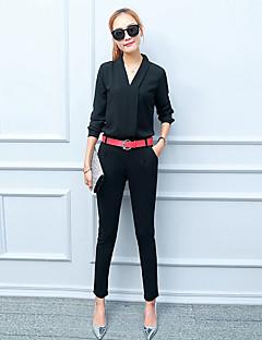 Damen Patchwork Street Schick Ausgehen Bluse Hose,V-Ausschnitt Herbst Langarm Rot / Weiß / Schwarz Polyester Dünn