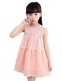 Girl's Casual/Daily Solid DressCotton / Polyester Summer Pink / Red / White