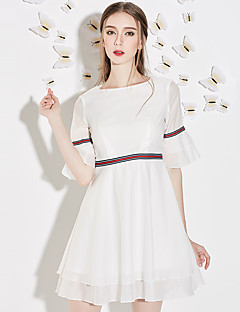 Damen A-Linie Kleid-Ausgehen Einfach Gestreift Rundhalsausschnitt Übers Knie ½ Länge Ärmel Weiß Polyester Sommer Hohe Hüfthöhe