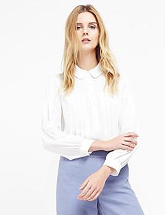 여성 솔리드 피터팬 카라 긴 소매 셔츠,정교한 디테일 데이트 폴리에스테르 봄 가을 얇음