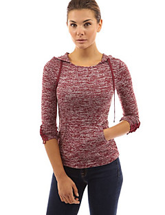 Women's Casual/Daily Simple Fall / Winter T-shirtSolid Hooded Long Sleeve Red / Gray Cotton / Rayon Thin