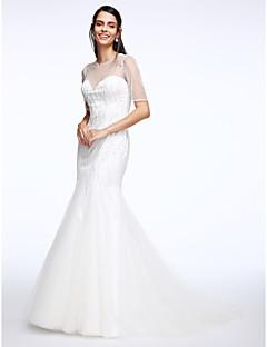 Lanting Bride® 트럼펫 / 머메이드 웨딩 드레스 코트 트레인 쥬얼리 튤 와 비즈 / 버튼