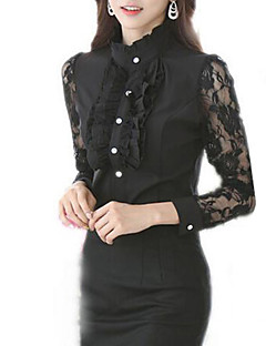 Women's Patchwork Lace Chiffion Pleated OL Style Slim Large Size Shirt,Shirt Collar Long Sleeve