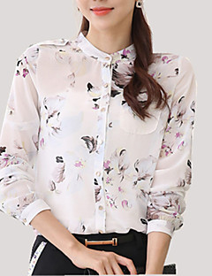 Mulheres Camisa Casual Plus Sizes Todas as Estações,Floral Branco Poliéster Colarinho Chinês Manga Longa Fina