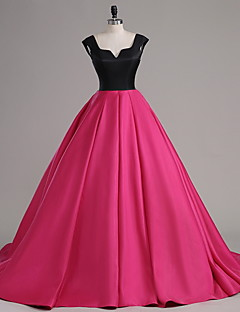 Formal Evening Dress - Color Block A-line Notched Court Train Satin with Buttons