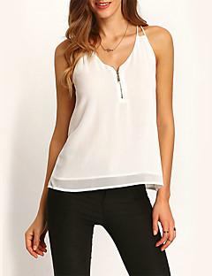 Uden ærmer Med stropper Medium Kvinders Hvid Ensfarvet Sommer Street Casual/hverdag Bluse,Polyester