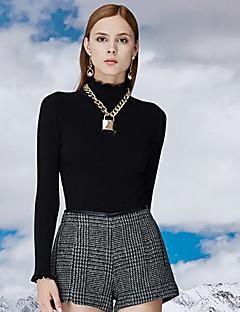 Damen Standard Pullover-Lässig/Alltäglich Einfach Solide Schwarz / Grau Rollkragen Langarm Baumwolle / Kunstseide / Nylon / Elasthan