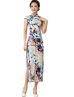 클래식 & 전통적 롤리타 나와 짧은 소매 긴 길이 화이트 / 블루 로리타 드레스 실크