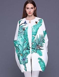 Rund hals Langærmet Medium Dame Hvid Trykt mønster Forår Sofistikerede I-byen-tøj Frakke,Bomuld Polyester