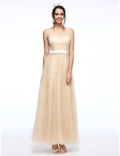 Serata formale Vestito Linea-A A sottoveste Lungo Tulle con Fascia / fiocco in vita / Drappeggio di lato