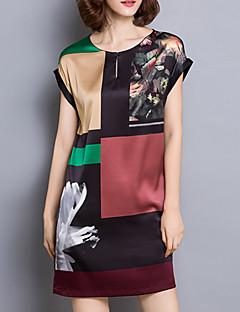 Feminino Reto Vestido,Casual Tamanhos Grandes Simples Estampado Decote Redondo Mini Manga Curta Seda Verão Cintura Média Micro-Elástica