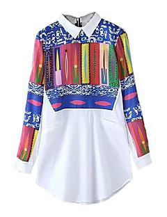 Women's Casual/Daily Vintage All Seasons ShirtPrint Shirt Collar Long Sleeve White Polyester Medium