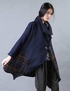 Yishidian® Damen Hemdkragen Lange Ärmel Wolle & Blends Blau / Grau-YSD1635W3
