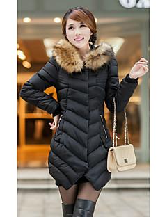 Damen Daunen Mantel,Standard Einfach Lässig/Alltäglich Solide-Baumwolle Polypropylen Langarm Rot / Schwarz / Grün Ständer