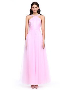 Lanting Bride® Ankle-length Tulle Bridesmaid Dress - Elegant A-line Straps with Side Draping / Criss Cross