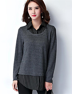 Women's Going out Casual/Daily Plus Size Simple Regular Pullover,Striped Color Block Gray Shirt Collar Long Sleeve Polyester Spring Winter